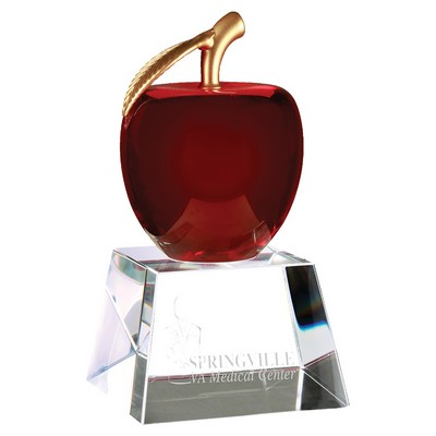 "6"" Red Crystal Apple with Clear Base"