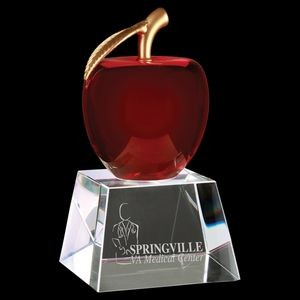 Red Optic Crystal Apple Award with Clear Base (6